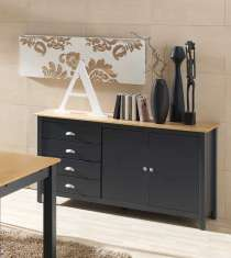 Dekoratives Sideboard aus Pinie : Kollektion JADE Anthrazitgrau