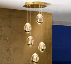 5-flammige LED-Deckenlampe : Kollektion ROCIO Gold