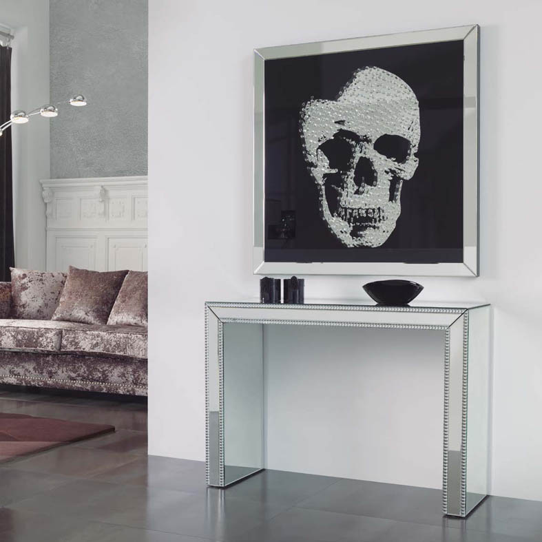 wandbild skull mit spiegelrahmen ihr online shop f r dekorative flachrelief bilder. Black Bedroom Furniture Sets. Home Design Ideas